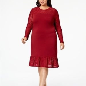 Michael Kors Plus Size Lace Hem & Sleeve Dress